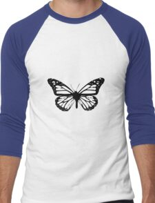 Black Butterfly Vector Art Men's Baseball ¾ T-Shirt