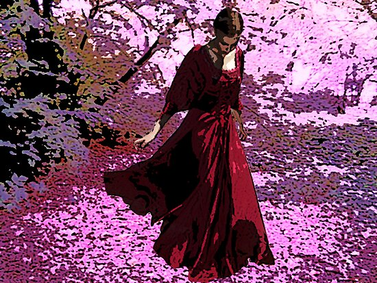 SCARLET ON CHERRY-BLOSSOM STROLL by Tammera