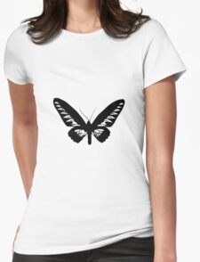 Black Butterfly Vector Art Womens Fitted T-Shirt