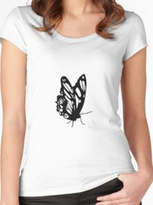 Black Butterfly Vector Art Women's Fitted Scoop T-Shirt