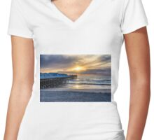CRYSTAL PIER SUNSET Women's Fitted V-Neck T-Shirt