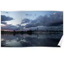 Reflecting on Boats and Clouds Poster