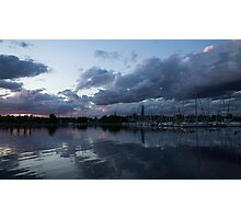 Reflecting on Boats and Clouds Photographic Print