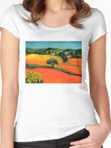 TUSCANY LANDSCAPE  WITH SUNFLOWERS Women's Fitted Scoop T-Shirt
