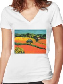 TUSCANY LANDSCAPE  WITH SUNFLOWERS Women's Fitted V-Neck T-Shirt