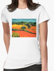 TUSCANY LANDSCAPE  WITH SUNFLOWERS Womens Fitted T-Shirt