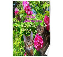 Kittens and Roses Anniversary Card Poster