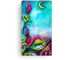 THUMBELINA SLEEPING BETWEEN ROSE LEAVES Canvas Print