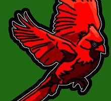 Cardinal - Red Bird in Flight by BagChemistry