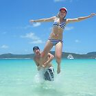 Fun at Whitehaven Beach Whitsunday Islands by thebeachdweller