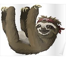 Happy Hanging Sloth Pirate Poster