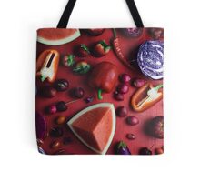 Red and purple food Tote Bag