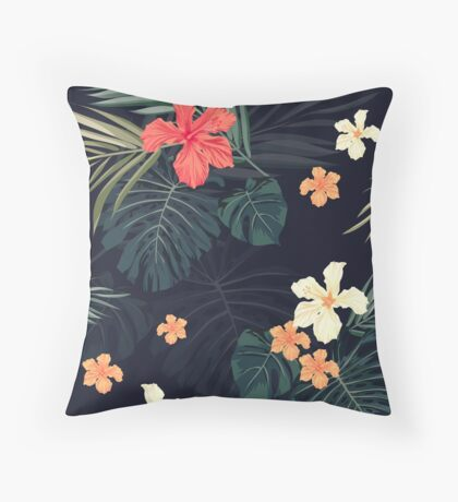 Dark tropical flowers Throw Pillow