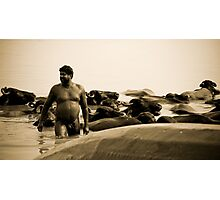 Washing buffalos Photographic Print