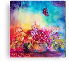 THUMBELINA,FLOWER BASKET AND BUTTERFLY Canvas Print