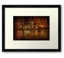 Rain On The Cobblestones Of Greenwich Village Framed Print