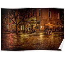 Rain On The Cobblestones Of Greenwich Village Poster