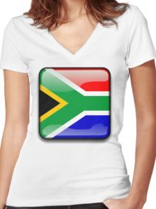 South African Flag, South Africa Icon Women's Fitted V-Neck T-Shirt