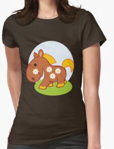 Floral little horse Womens Fitted T-Shirt