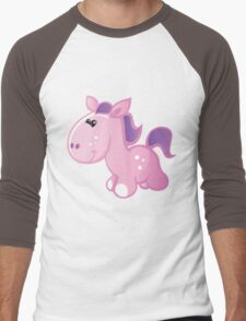 Pretty pink horse Men's Baseball ¾ T-Shirt