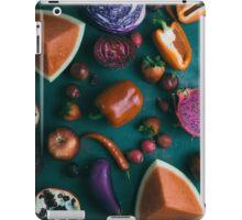 Red food on dark green iPad Case/Skin