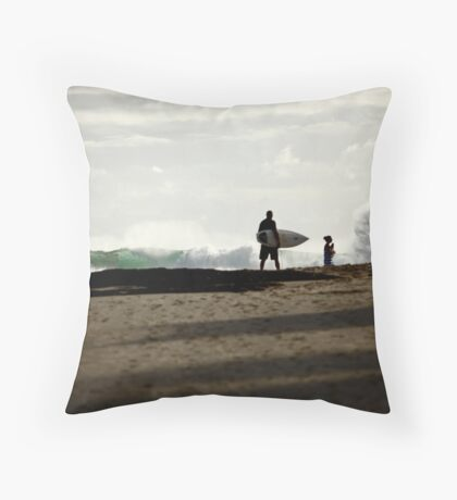 At the beach... Throw Pillow