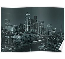 Seattle city night lights Poster