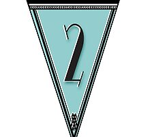 Manhattan 1920s Deco Blues Banner Pennant… number 2  by CecelyBloom