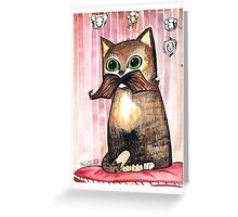 Mr. Whiskers: Moustache Cat Greeting Card
