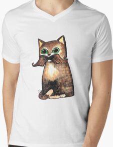Mr. Whiskers: Moustache Cat Mens V-Neck T-Shirt