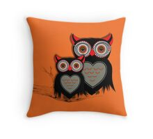 Cute Whimsy Mother And Baby Owls Throw Pillow