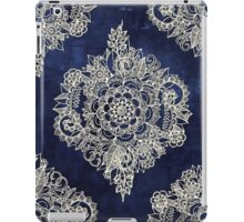 Cream Floral Moroccan Pattern on Deep Indigo Ink iPad Case/Skin