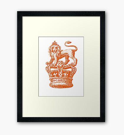 Lion & Crown Heraldry Blazon Framed Print