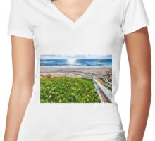STEPS DOWN TO THE BEACH Women's Fitted V-Neck T-Shirt