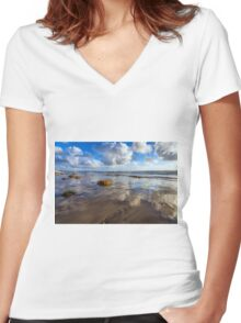 CLOUDS ON THE SAND Women's Fitted V-Neck T-Shirt