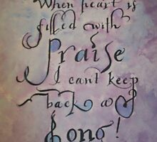 Painted praise quote calligraphy art  by Melissa Goza