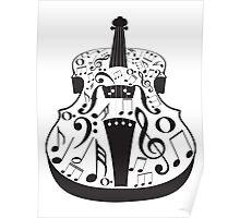 Perspective Violin with Notes Poster