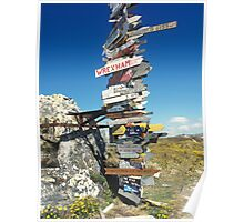 Stick with sign distances,Stanley,Falkland Islands Poster