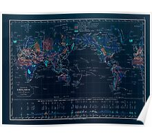 Atlas zu Alex V Humbolt's Cosmos 1851 0148 Earth Geological Map Inverted Poster