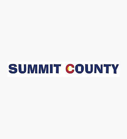 Summit County Colorado flag words Photographic Print