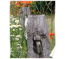 Tiger lilies on rail fence Poster
