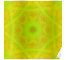 Green-Orange Mandala-Fleur  Poster