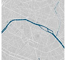 Paris city map grey colour by mmapprints