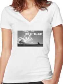 Each Day Is A Gift Women's Fitted V-Neck T-Shirt