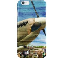 Spitfire Mk 1A aircraft on wood texture iPhone Case/Skin