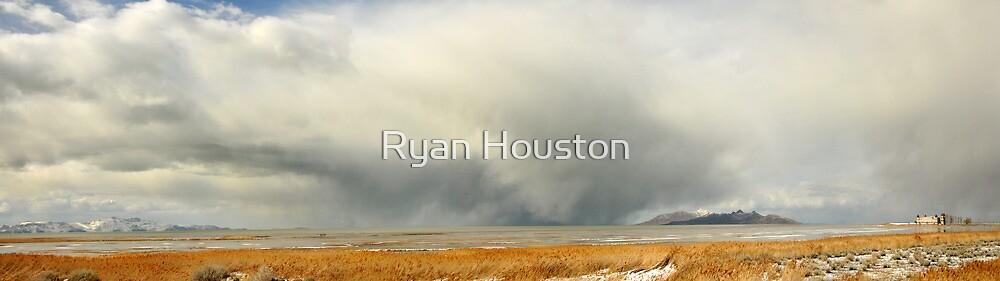 Saltaire & Antelope Island - Spring Snow Storm by Ryan Houston