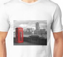 Traditional Red Telephone Box on Thames Embankment Unisex T-Shirt
