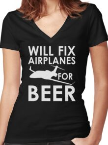 Will Fix Airplanes for Beer, White text Women's Fitted V-Neck T-Shirt