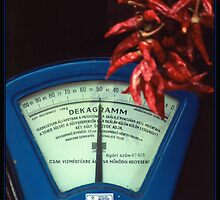 Scale and Hot Pepper in a Grocery Shop by ofer2000