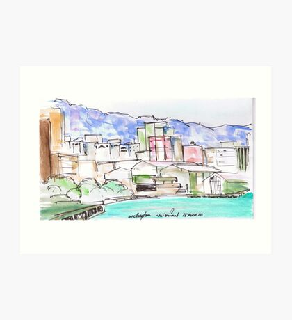 Wellington City Evening Skyline Art Print